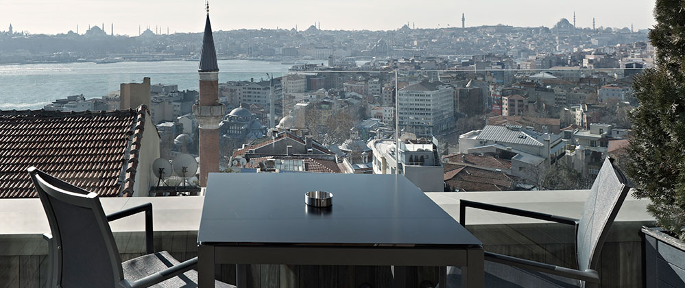 View from the superior King Panoramic with terrace room at Witt Istanbul Hotel.