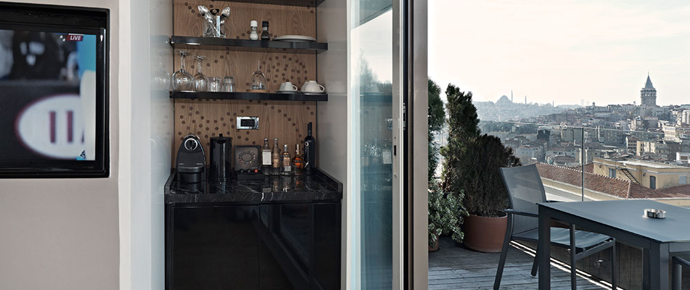 Kitchenette and view of Queen Panoramic with Terrace room at Witt Istanbul Hotel.