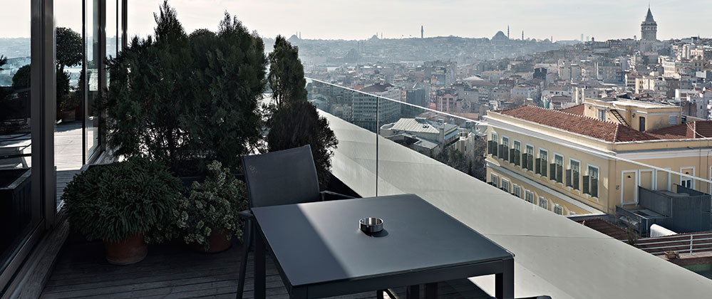Balcony view of Queen Panoramic with Terrace room at Witt Istanbul Hotel.