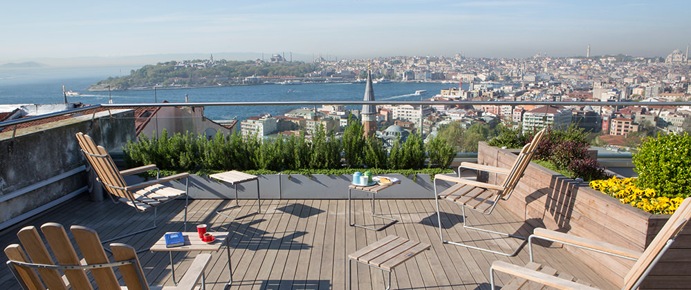 Witt Istanbul roof garden with aerial Sultanahmet peninsula view.
