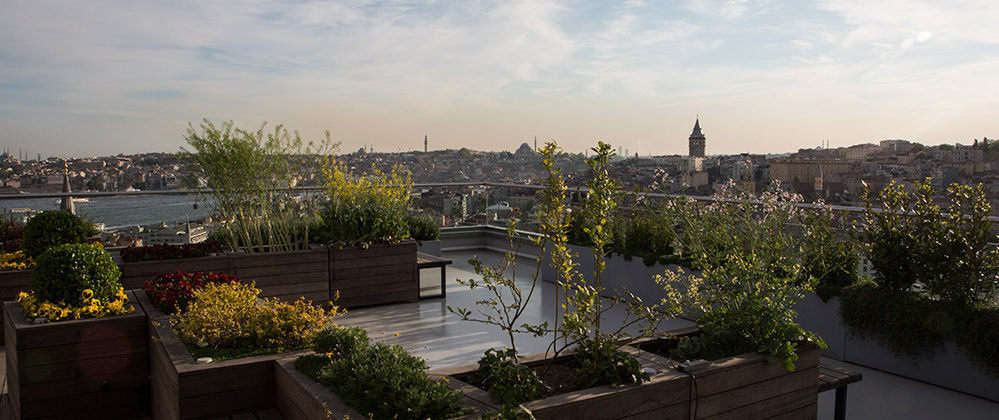 Witt Istanbul hotel roof garden with Galata Tower view